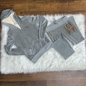 Grey PINK Victoria's Secret track suit